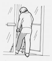 Patient opening door